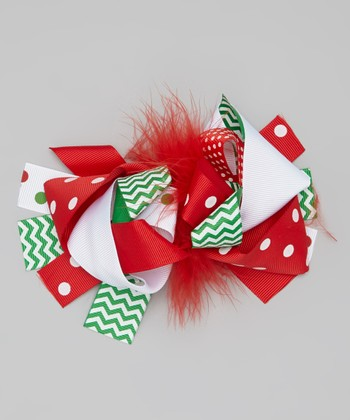 Red & White Christmas Bow Clip