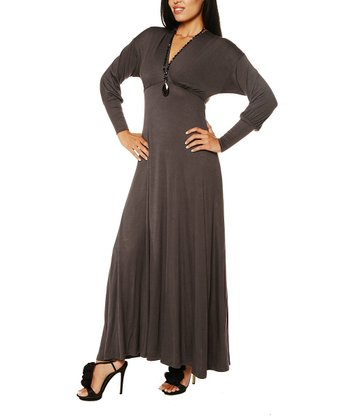 Charcoal Long-Sleeve Maxi Dress - Women & Plus