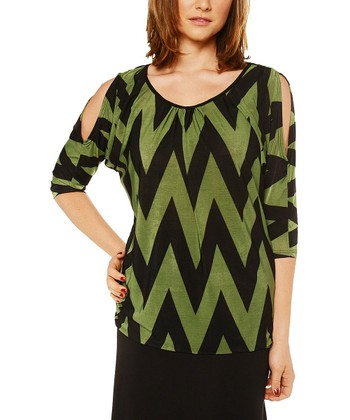 Black & Green Zigzag Cutout Top - Women & Plus
