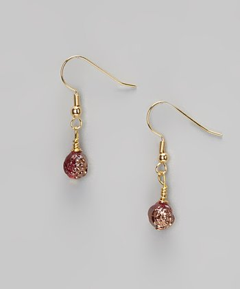 Rose Copper Rosebud Drop Earrings