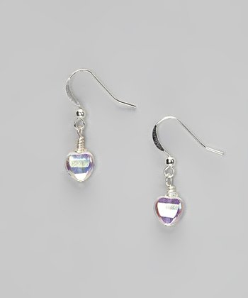 Crystal Rainbow Heart Drop Earrings