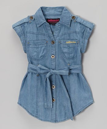 Dark Wash Chambray Short-Sleeve Button-Up Tunic - Girls