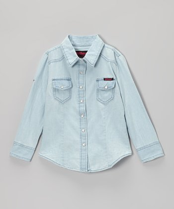 Light Wash Chambray Button-Up - Girls