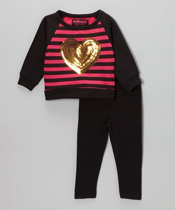 Fuchsia & Black Sequin Heart Sweater & Leggings - Toddler