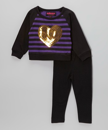 Purple & Black Sequin Heart Sweater & Leggings - Toddler