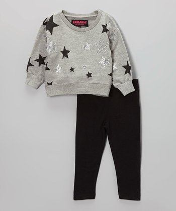 Gray Rhinestone Star Sweater & Black Leggings - Toddler