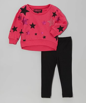 Fuchsia Rhinestone Star Sweater & Black Leggings - Toddler