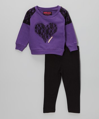 Purple Lace Heart Sweater & Black Leggings - Toddler