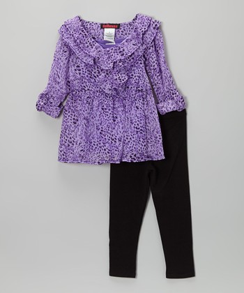 Purple Jungle Chiffon Tunic & Leggings - Toddler & Girls