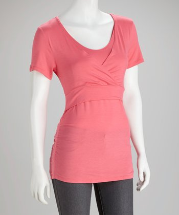Coral Soho Chic Maternity & Nursing Short-Sleeve Top