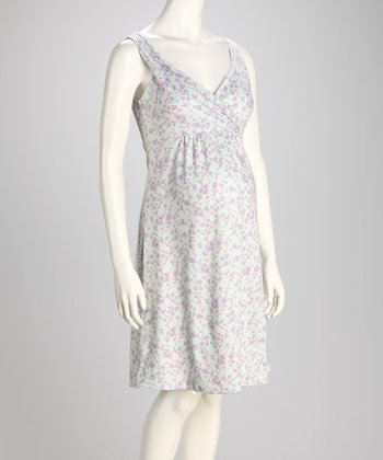 Purple Cherry Blossoms Angel Sleep Nursing Nightgown