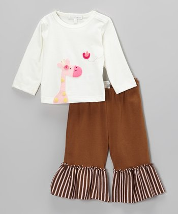 Off-White Giraffe Tee & Brown Pants - Infant, Toddler & Girls
