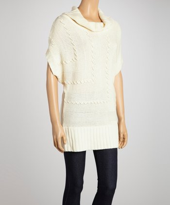 Ivory Stitch-Detail Cowl Neck Dolman Sweater