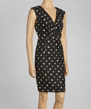 Black & Stone Polka Dot Surplice Dress