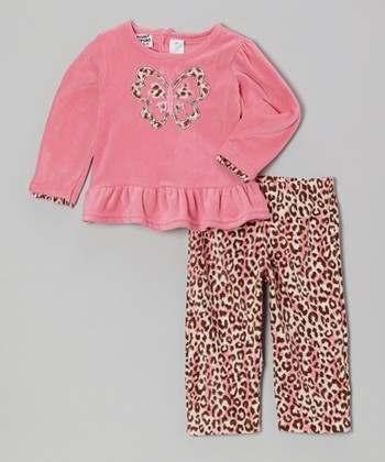 Peanut Buttons Pink Leopard Butterfly Ruffle Top & Pants - Infant & Toddler