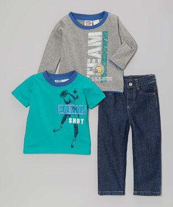 Peanut Buttons Blue & Gray Sport Tee Set - Infant, Toddler & Boys