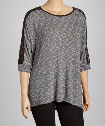 Black & Gray Lace-Trim Tunic - Plus