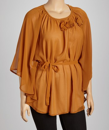 Brown Rosette Sheer Cape-Sleeve Top - Plus