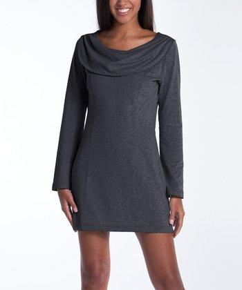 lur® Charcoal Bellflower Cowl Neck Dress - Women