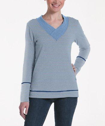 lur® Blue Stripe Honeysuckle V-Neck Sweater - Women