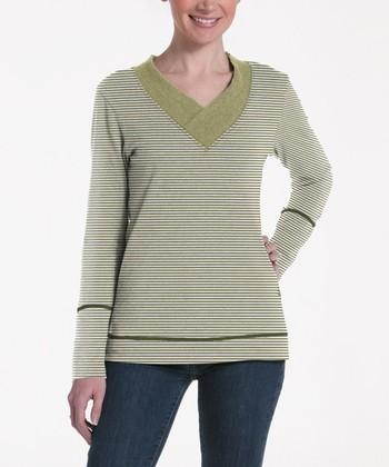 lur® Olive Stripe Honeysuckle V-Neck Sweater - Women