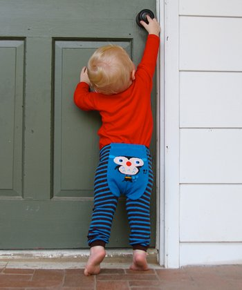 Blue & Brown Stripe Owl Leggings