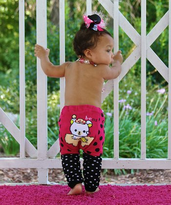 Pink & Black Polka Dot Bear Leggings