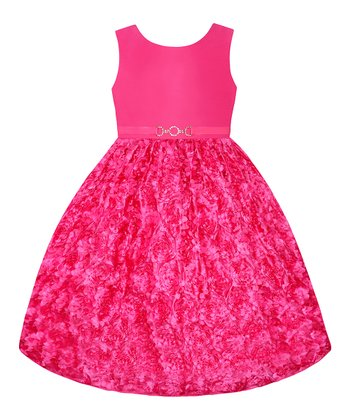 Watermelon Rosette Belted Dress - Girls' Plus