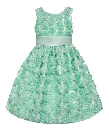 Spring Green Sequin Rosette Dress - Girls' Plus