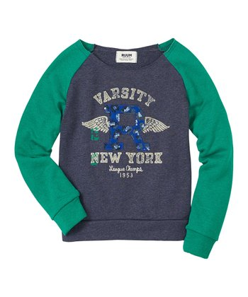 Navy Varsity New York Raglan Sweatshirt - Girls