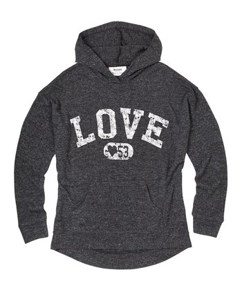 Washed Black 'Love' Hoodie - Girls