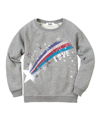 Medium Heather Gray 'Love' Pullover Sweatshirt - Girls