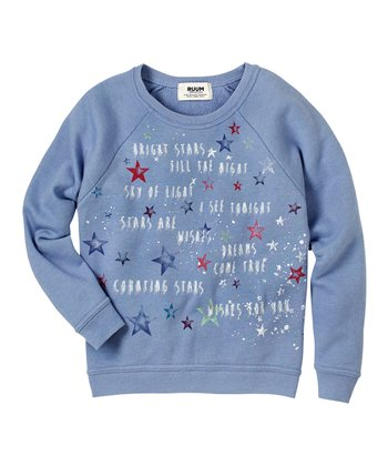 Muted Periwinkle Stars Pullover Sweatshirt - Girls