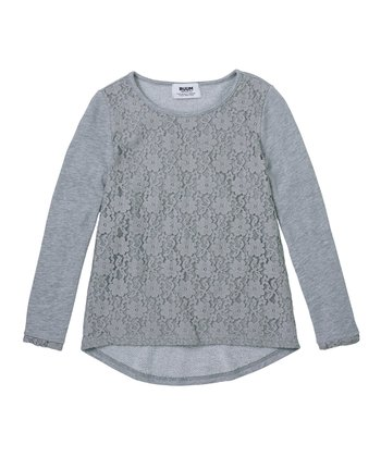 Light Heather Gray Lace-Front Long-Sleeve Top - Girls
