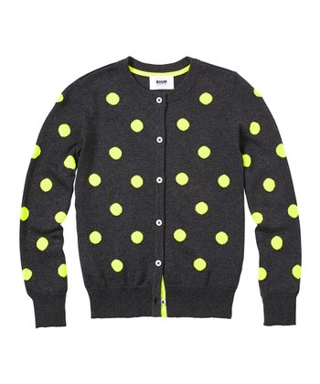 Dark Heather Gray Polka Dot Cardigan - Girls