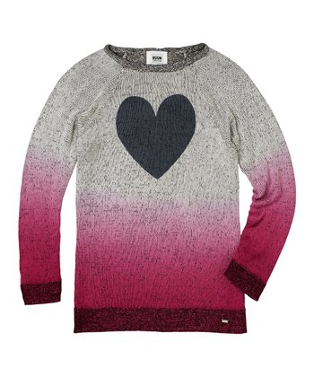 Deep Mauve Ombré Heart Sweater - Girls