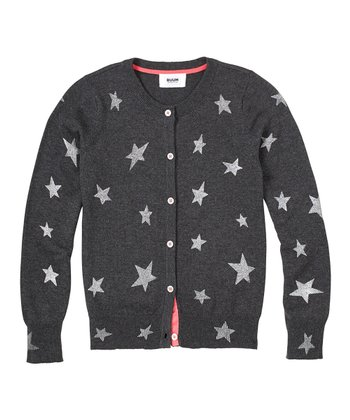 Dark Heather Gray Stars Cardigan - Girls
