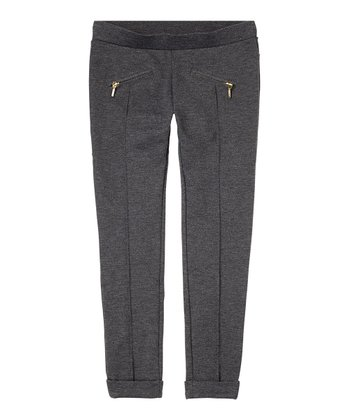 Dark Heather Gray Zipper Skinny Pants - Girls