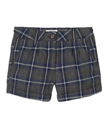 Navy Plaid Shorts - Girls