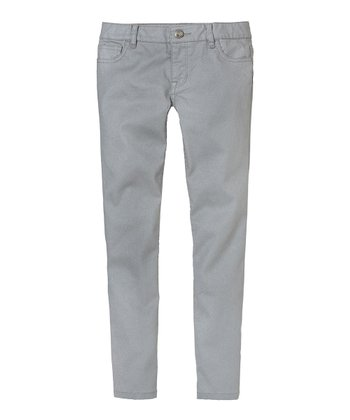 Silver Coated Skinny Pants - Girls