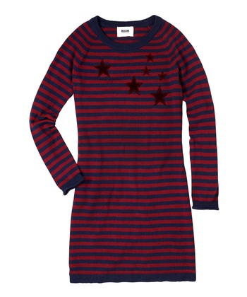 Berry Wine Stripe Sweater Dress - Girls