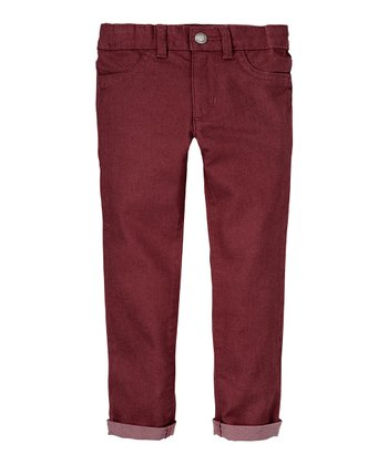 Mulled Wine Twill Skinny Pants - Infant, Toddler & Girls