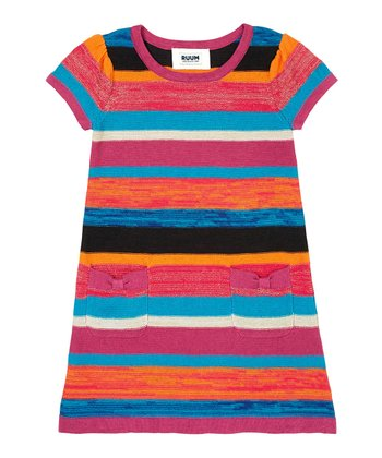 Blue & Pink Stripe Sweater Dress - Infant, Toddler & Girls
