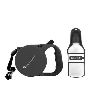 Black Retractable Leash & Water Bottle