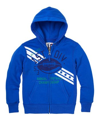 Varsity Blue Football Zip-Up Hoodie - Boys