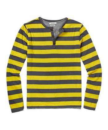 Willow Green & Gray Stripe Layered Henley - Boys