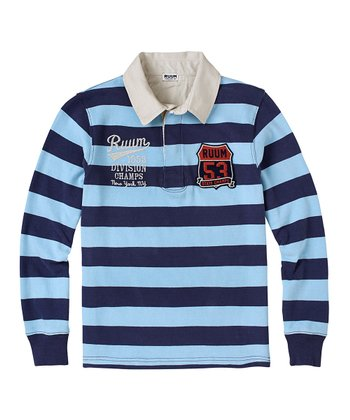 Ink Blue & Blue Stripe Long-Sleeve Polo - Boys