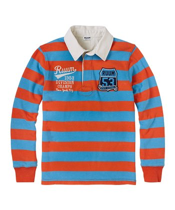 Burnt Orange & Blue Stripe Long-Sleeve Polo - Boys