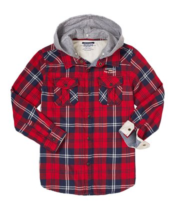Red & Navy Plaid Hooded Button-Up - Boys