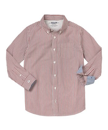London Red & White Stripe Button-Up - Infant, Toddler & Boys